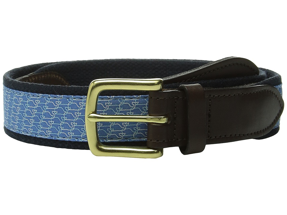 Vineyard Vines - Canvas Club Belt - Whale Links (Royal Blue) Men's Belts
