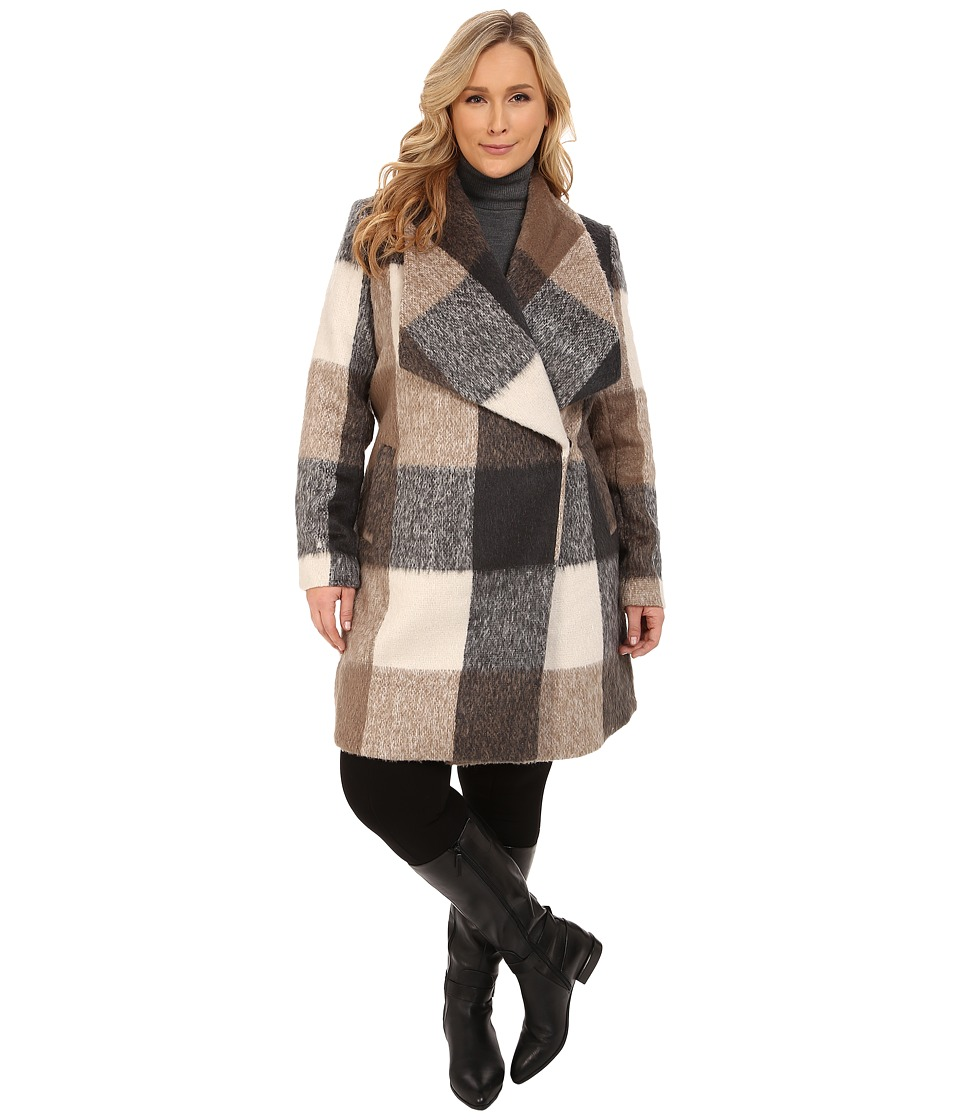 Mynt 1792 - Plus Size Deep Shawl Coat (Brown/Grey Box Plaid) Women's Coat