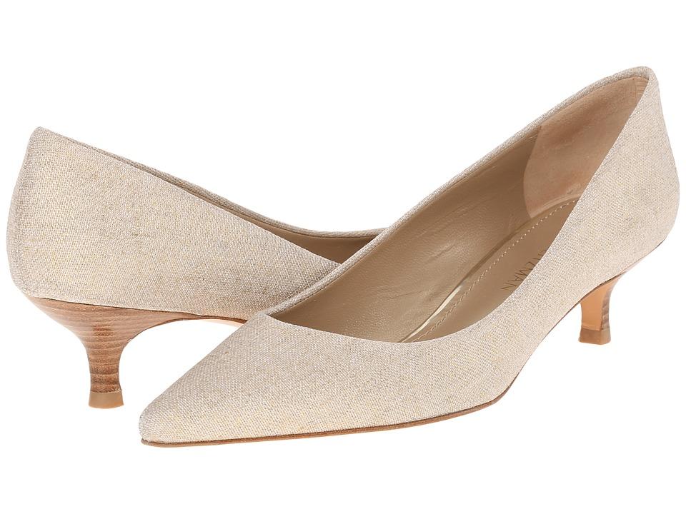 Stuart Weitzman - Poco (Gold Summer Linen) Women's Slip-on Dress Shoes