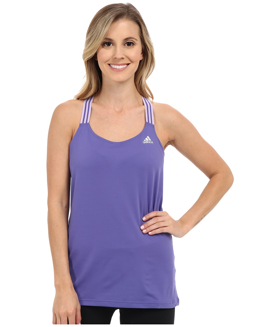 adidas - 3-Stripes Performer Tank Top (Purple/Purple Glow/Matte Silver) Women