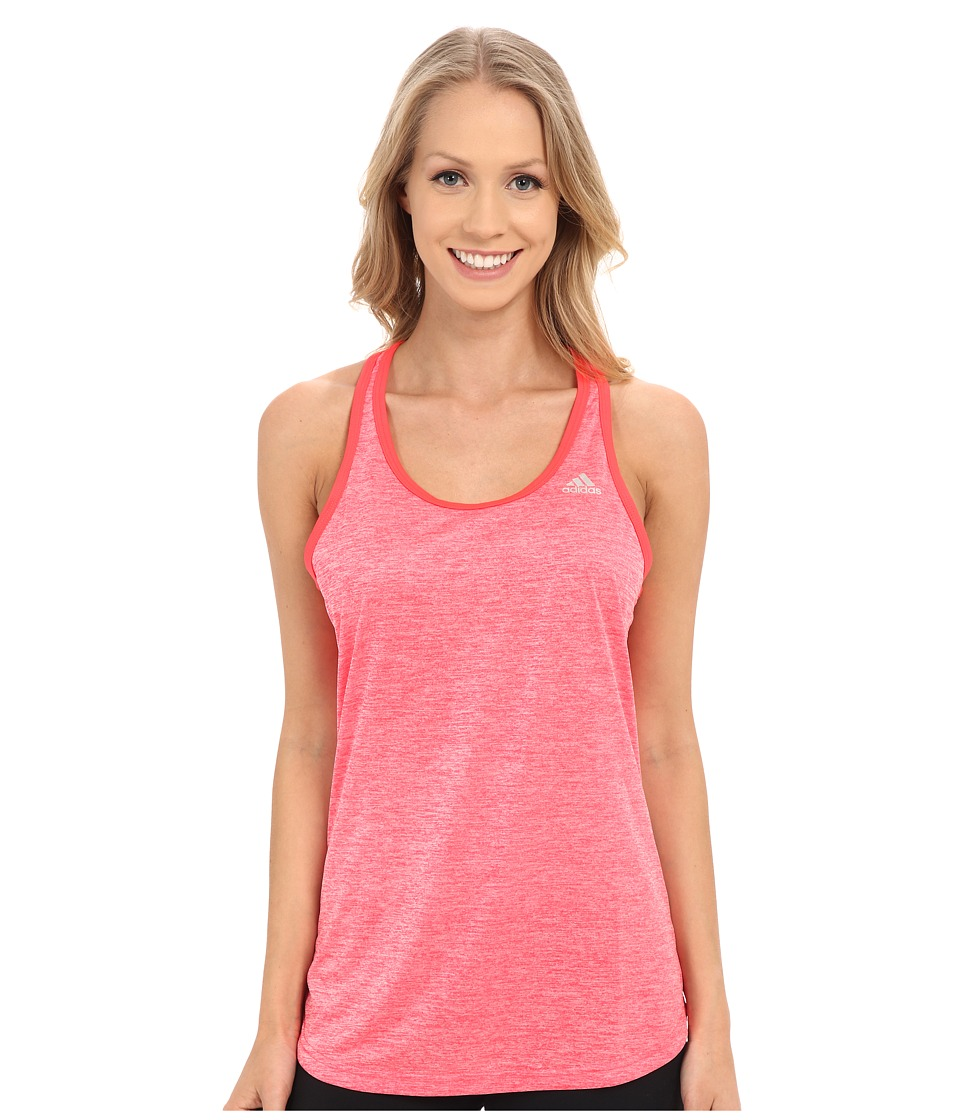 adidas - Keyhole Tank Top (Shock Red Heather/Matte Silver) Women's Sleeveless
