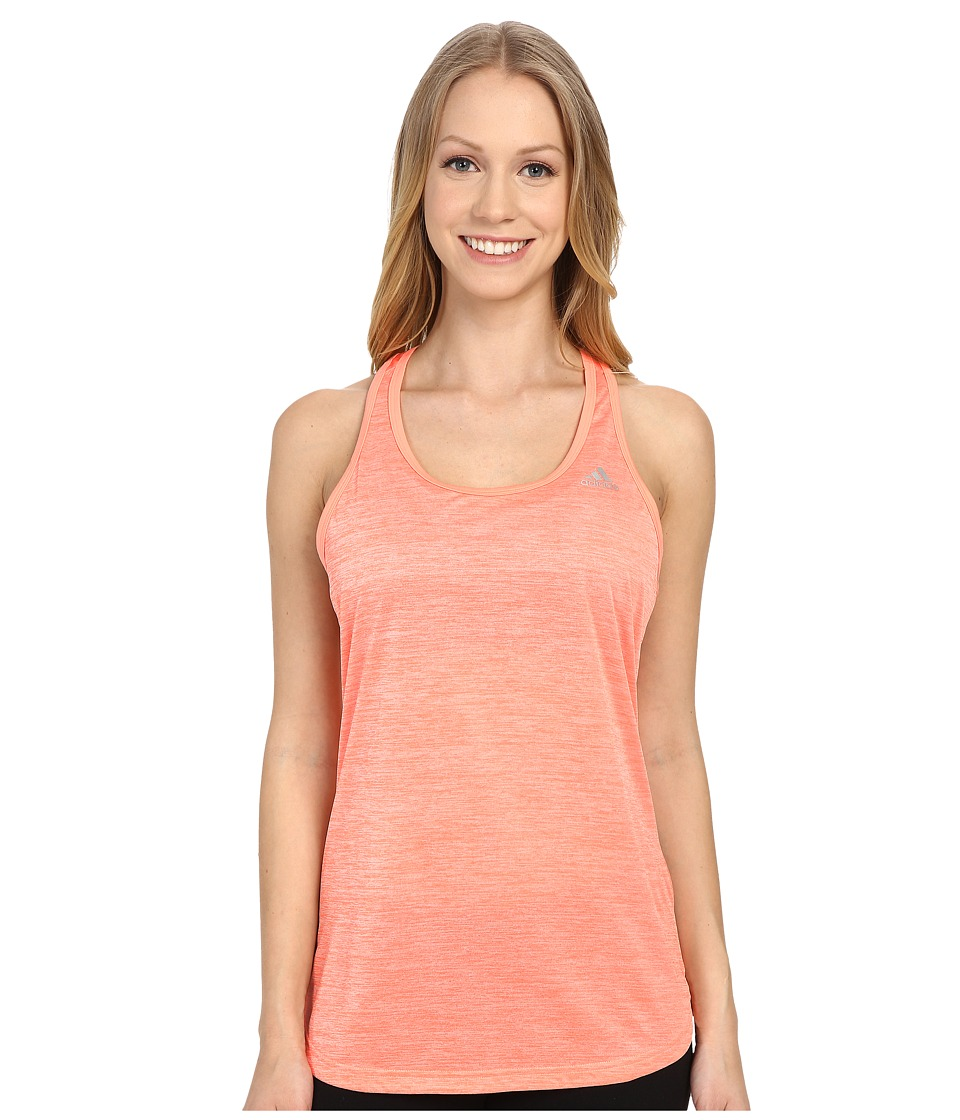 adidas - Keyhole Tank Top (Sun Glow Heather/Matte Silver) Women's Sleeveless