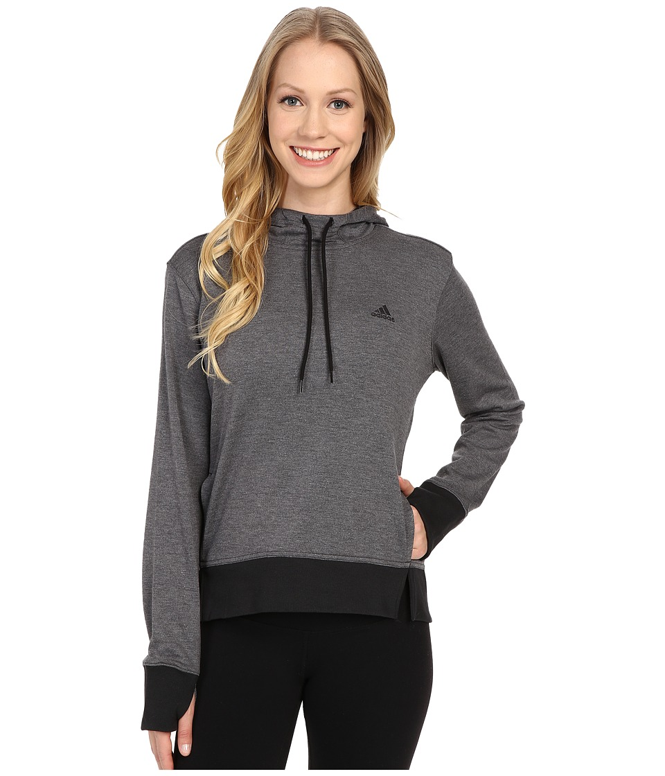 adidas - 2Love Pullover Hoodie (Dark Grey Heather/Black) Women's Sweatshirt