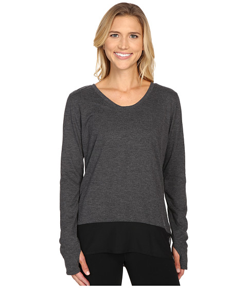 adidas - Mesh Mix Long Sleeve Cover-Up (Dark Grey Heather/Matte Silver) Women's Long Sleeve Pullover