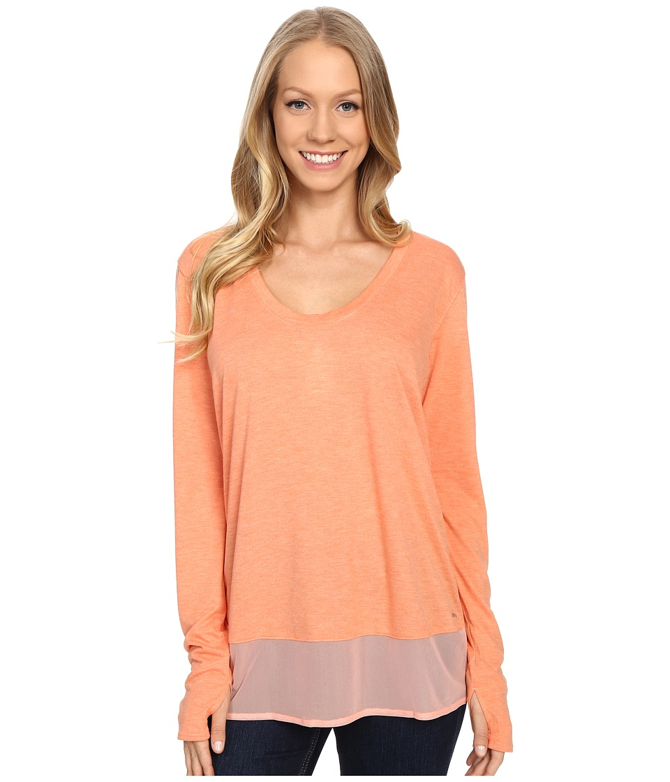 adidas - Mesh Mix Long Sleeve Cover-Up (Sun Glow/Matte Silver) Women's Long Sleeve Pullover