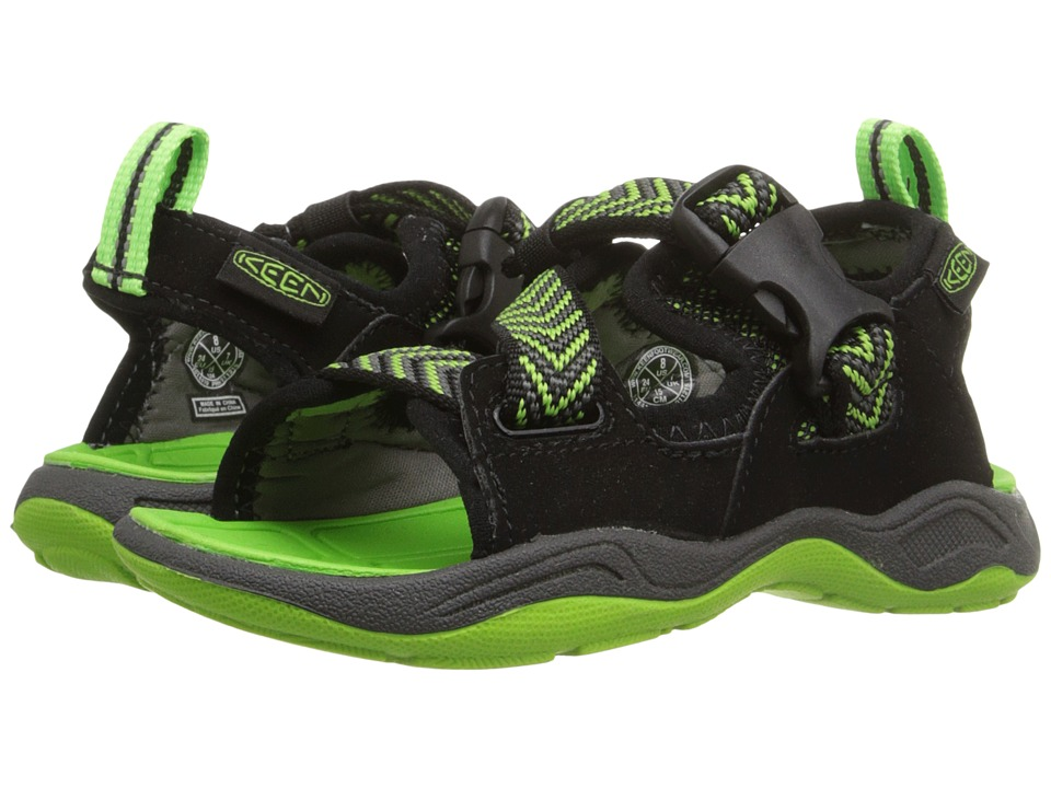 Keen Kids - Rock Iguana (Toddler/Little Kid) (Black/Jasmine Green) Boy's Shoes