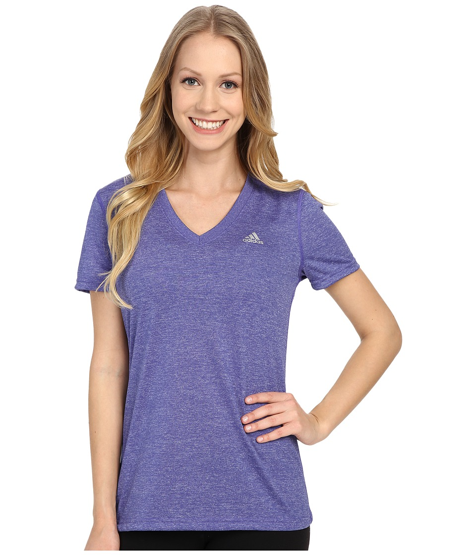 adidas - Ultimate S/S V-Neck Tee (Purple/Matte Silver) Women's T Shirt