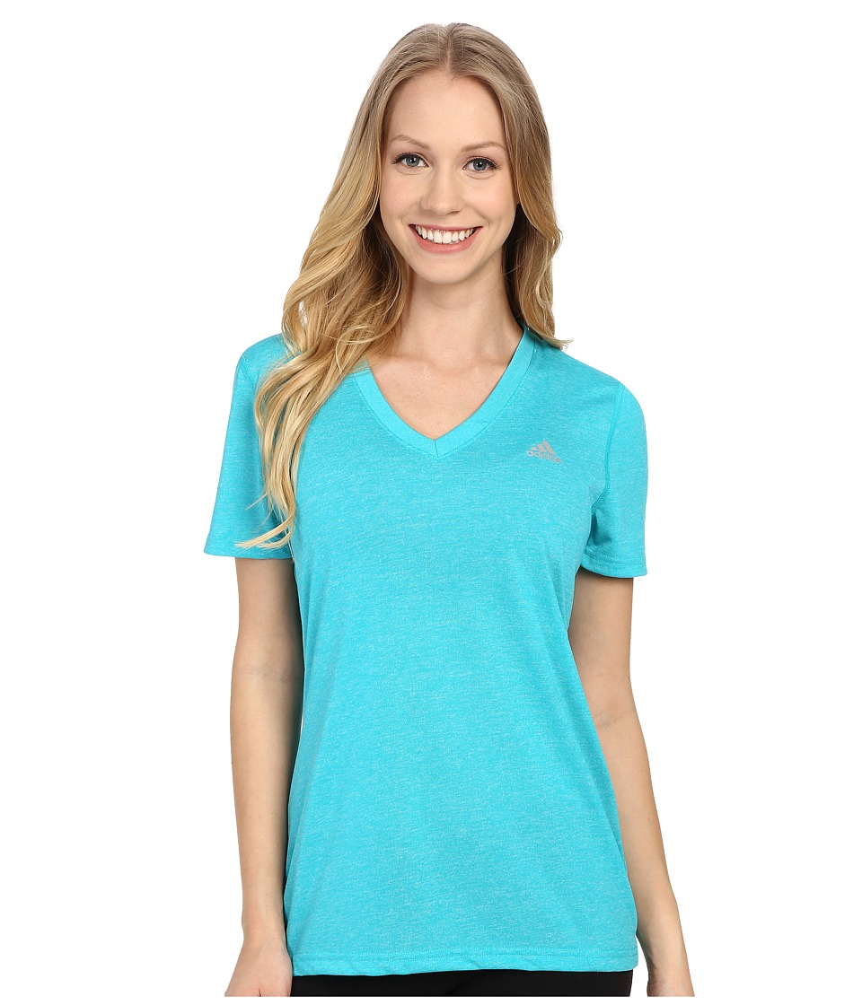 adidas Ultimate S/S V-Neck Tee (Shock Green/Matte Silver) Women