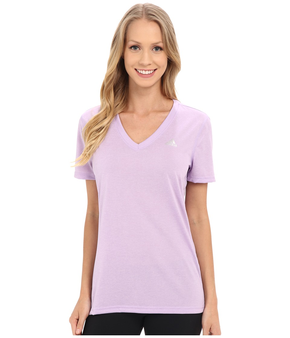 adidas - Ultimate S/S V-Neck Tee (Purple Glow/Matte Silver) Women's T Shirt