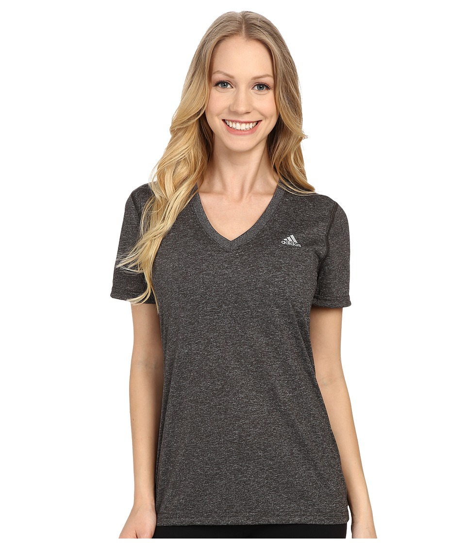 adidas - Ultimate S/S V-Neck Tee (Dark Grey Heather/Matte Silver 1) Women's T Shirt