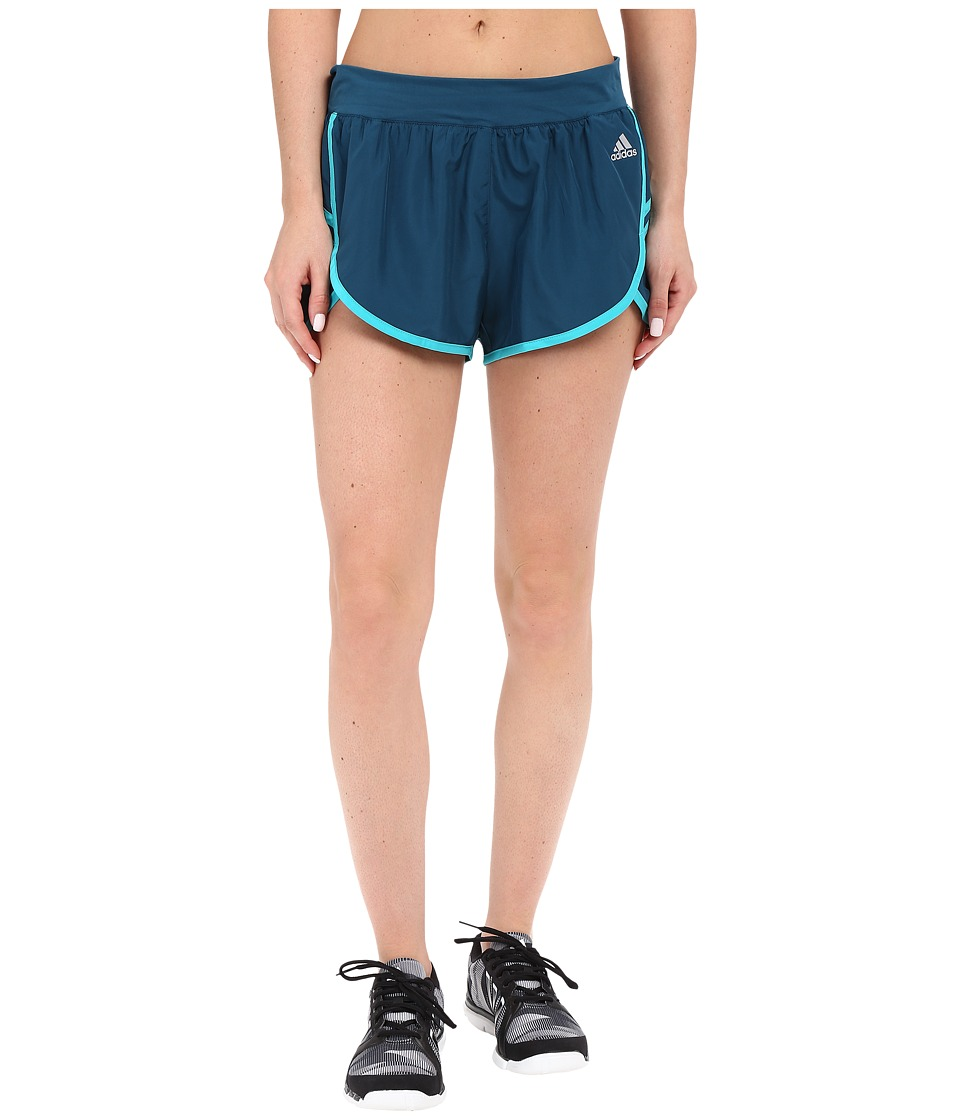 adidas - Ultimate Woven Shorts (Mineral/Shock Green/Matte Silver) Women's Shorts
