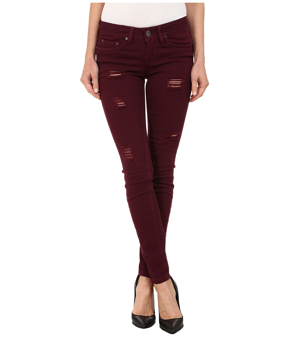 dollhouse - Sangria Destructed Full Length Skinny w/ Roll Cuff Jeans in Burgundy (Burgundy) Women