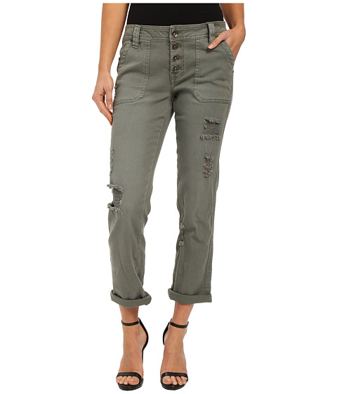 dollhouse - Olive Boyfriend Exposed Button Roll Cuff Pants (Green) Women's Casual Pants