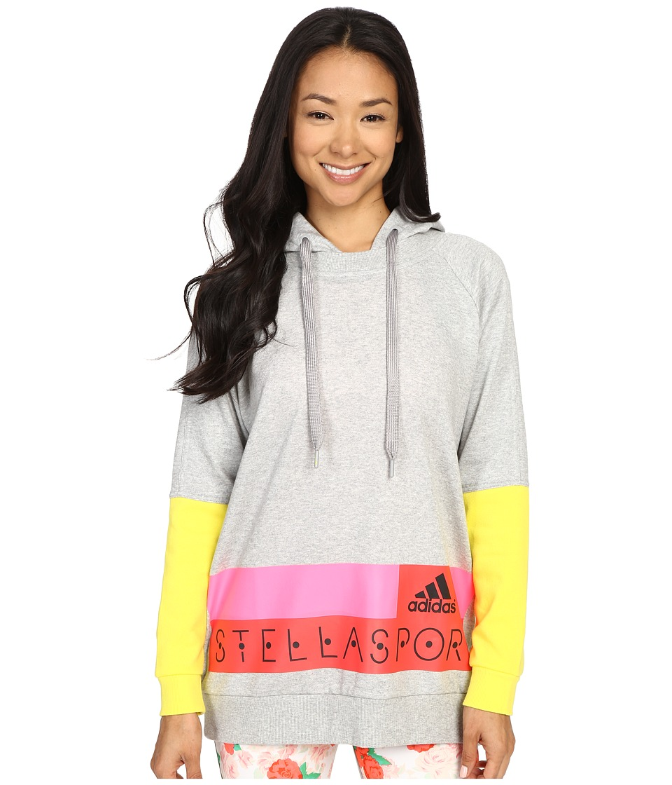 adidas - Stellasport SC Long Hoodie (Medium Grey Heather/Bright Yellow) Women's Sweatshirt