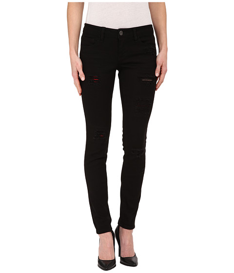 dollhouse - Five-Pocket Black Skinny Jeans w/ Plaid Inserts (Black) Women