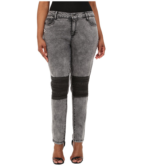 dollhouse - Plus Size Acid Grey Five-Pocket Skinny Jeans w/ Knee Patch (Acid) Women