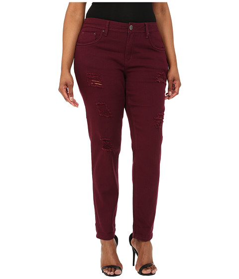 dollhouse - Plus Size Sangria Destructed Full Length Skinny Jeans w/ Roll Cuff (Burgundy) Women