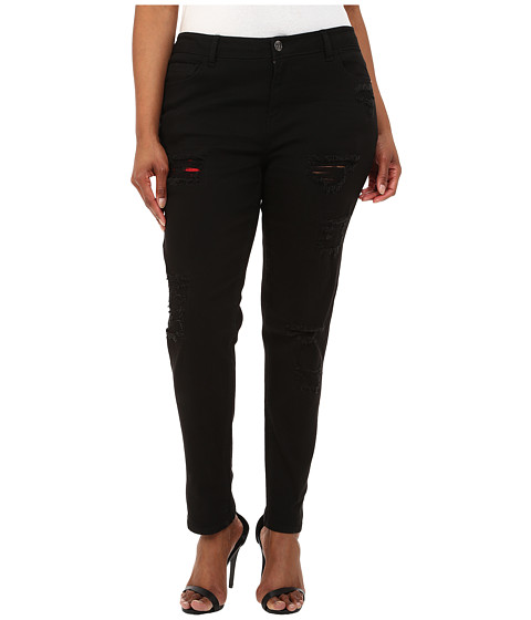 dollhouse - Plus Size Five-Pocket Black Skinny Jeans w/ Plaid Insert (Black) Women