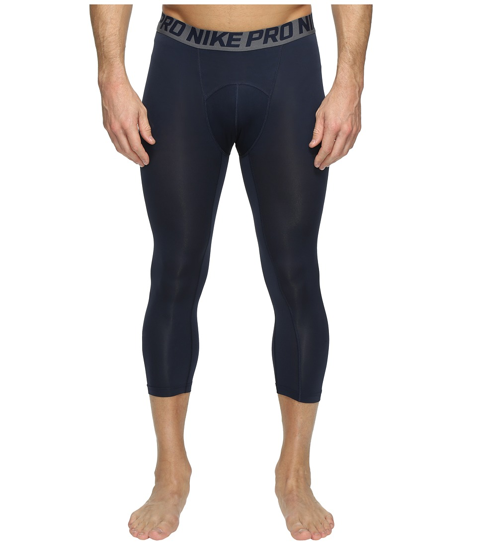 Nike - Pro Cool 3/4 Compression Tight (Obsidian/Dark Grey/White) Men's Capri