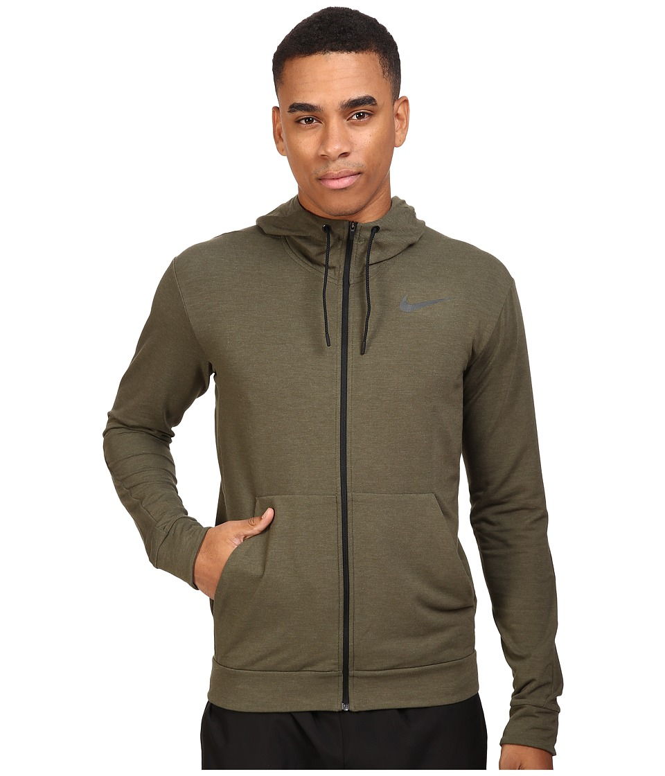 Nike - Dri-FIT Fleece Full-Zip Training Hoodie (Cargo Khaki/Black) Men's Sweatshirt