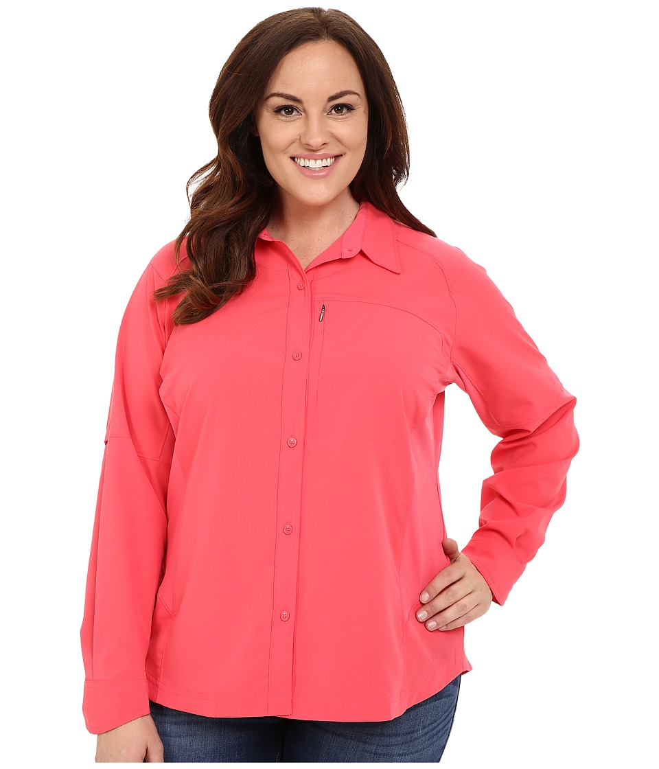 Columbia - Plus Size Silver Ridge L/S Shirt (Bright Geranium) Women's Long Sleeve Button Up