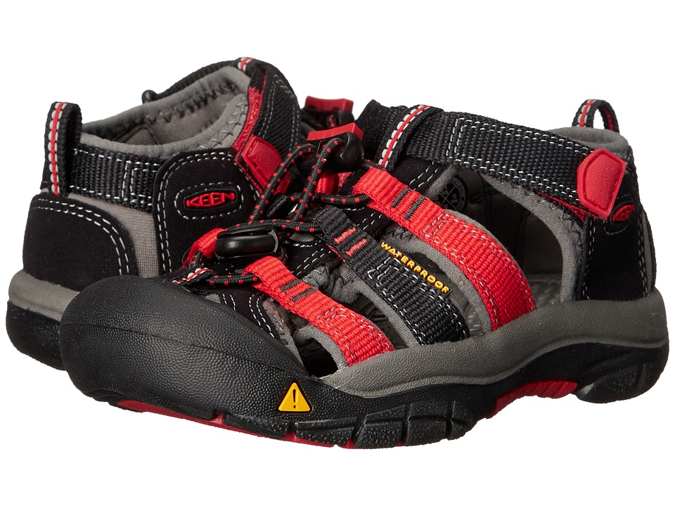 Keen Kids - Newport H2 (Toddler/Little Kid) (Black/Racing Red Multi) Boys Shoes