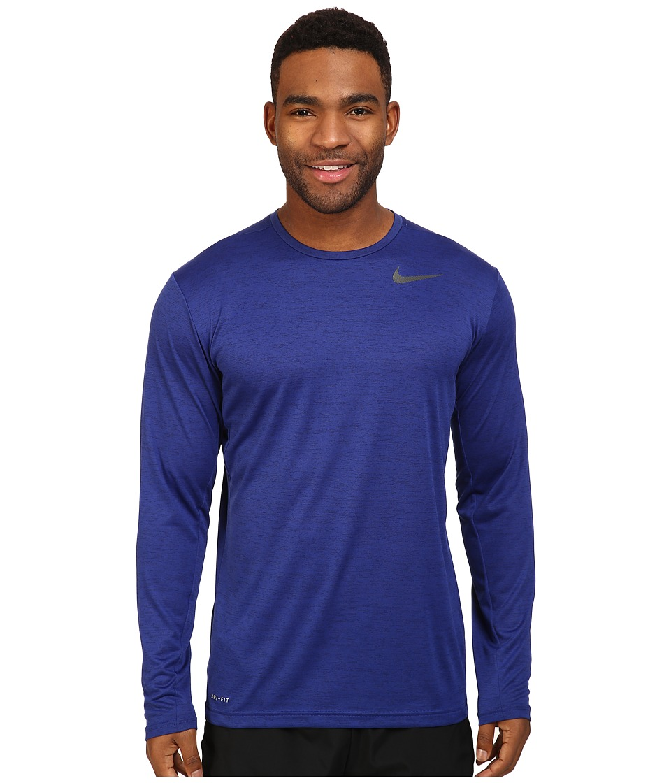 Nike - Dri-FIT Training Long Sleeve Shirt (Deep Royal Blue/Black) Men's Clothing