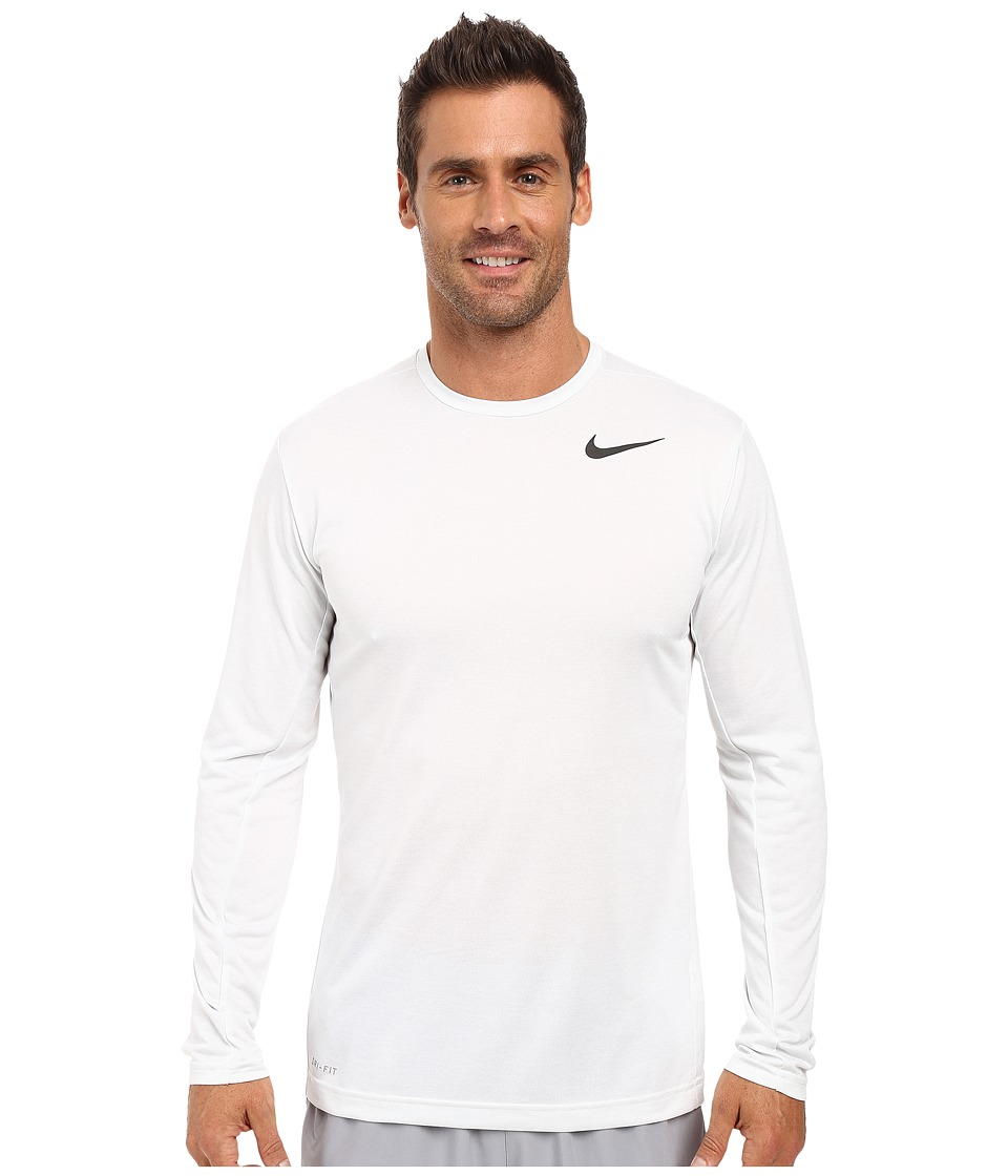 Nike - Dri-FIT Training Long Sleeve Shirt (White/Black) Men's Clothing