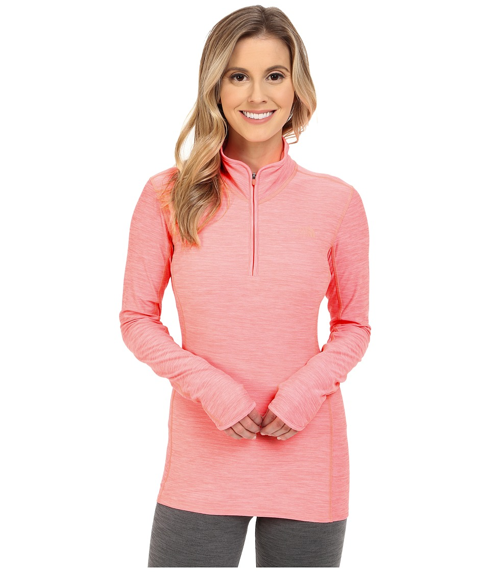 The North Face - Motivation 1/4 Zip Pullover (Neon Peach Heather) Women's Long Sleeve Pullover