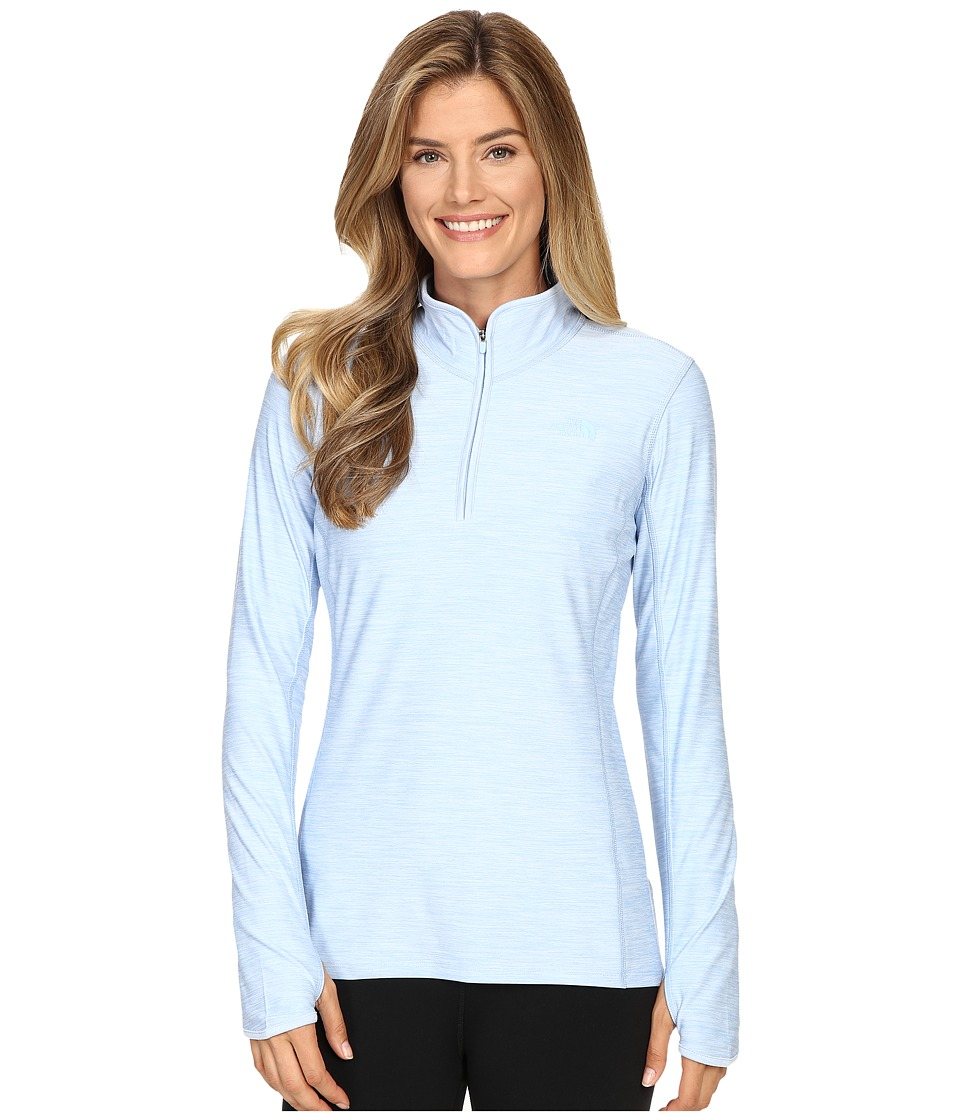The North Face - Motivation 1/4 Zip Pullover (Powder Blue Heather) Women's Long Sleeve Pullover