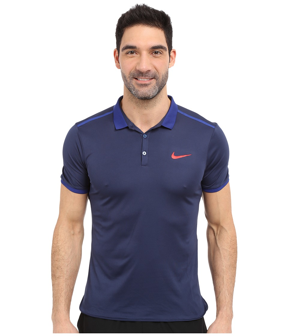 Nike - Court Advantage Solid Tennis Polo (Midnight Navy/Deep Royal Blue/University Red) Men's Short Sleeve Pullover