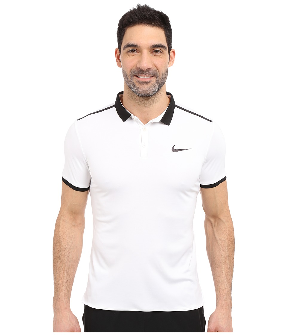 Nike - Court Advantage Solid Tennis Polo (White/Black/Black) Men's Short Sleeve Pullover