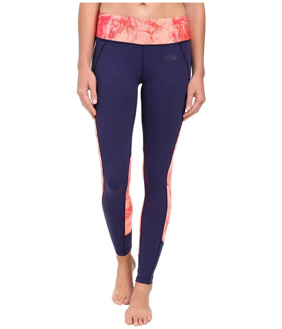 The North Face - Motivation Color Block Printed Leggings (Patriot Blue/Neon Peach Fossil Print) Women's Casual Pants