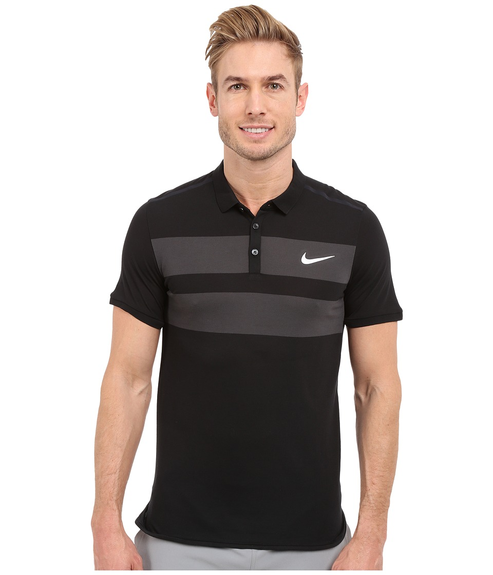 Nike - Advanced Dri-FIT Cool Polo (Black/White) Men's Clothing