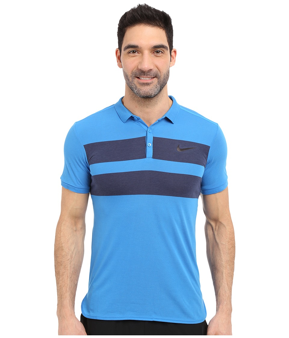 Nike - Advanced Dri-FIT Cool Polo (Light Photo Blue/Black) Men's Clothing