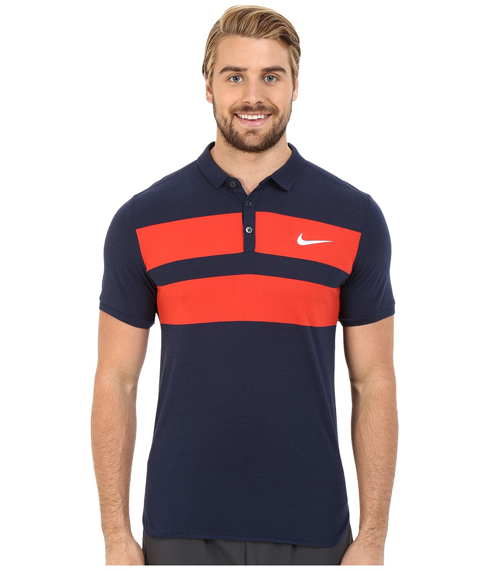 Nike - Advanced Dri-FIT Cool Polo (Obsidian/White) Men's Clothing