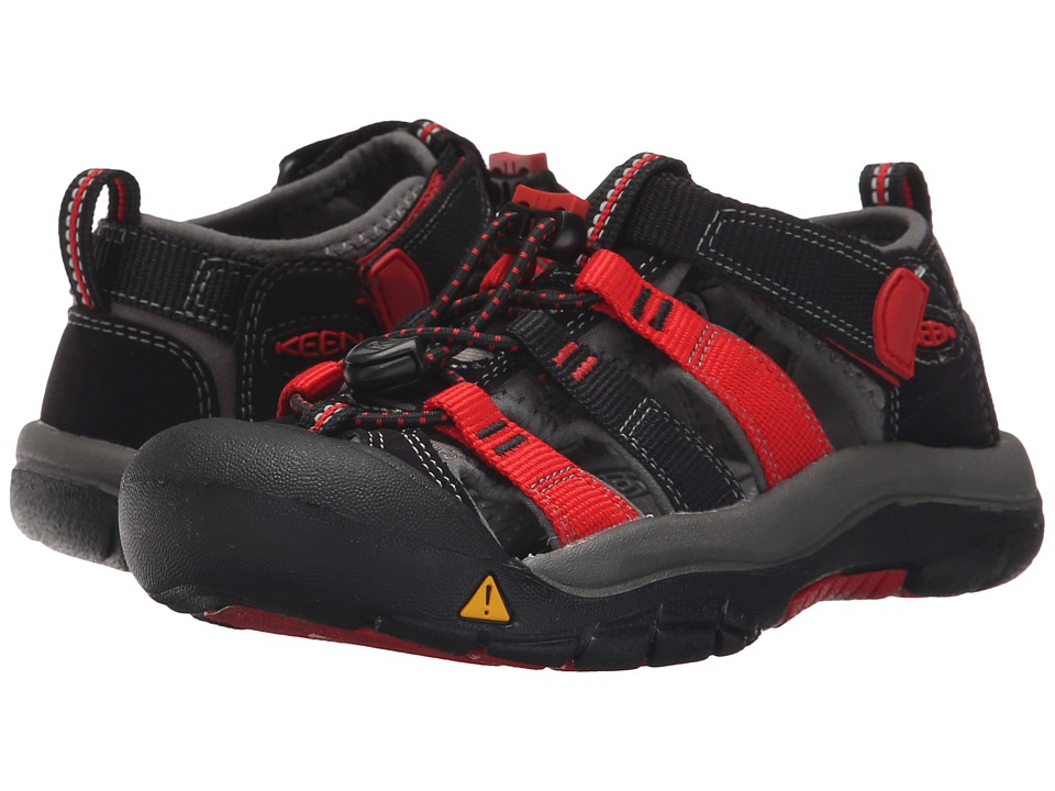 Keen Kids - Newport H2 (Little Kid/Big Kid) (Black/Racing Red Multi) Kids Shoes