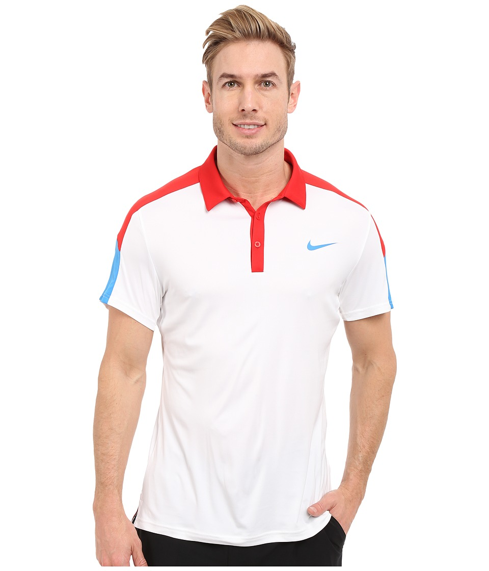 Nike - Team Court Polo (White/University Red/Light Photo Blue/Light Photo Blue) Men's Short Sleeve Pullover