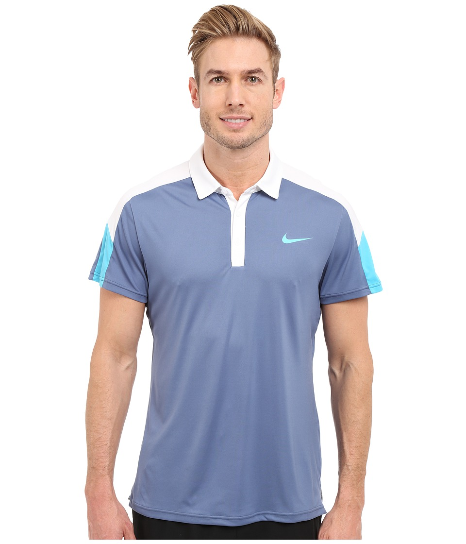 Nike - Team Court Polo (Ocean Fog/White/Omega Blue/Omega Blue) Men's Short Sleeve Pullover