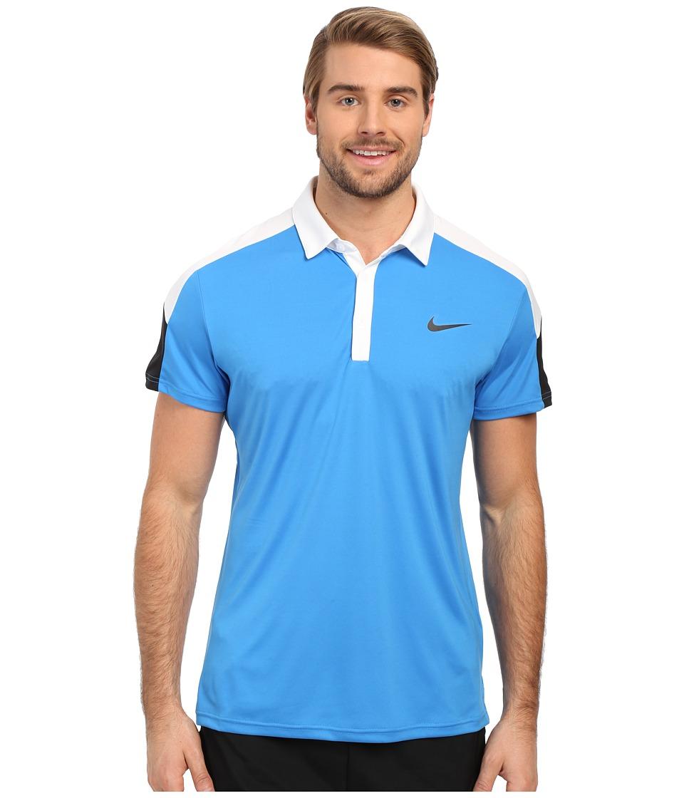 Nike - Team Court Polo (Light Photo Blue/White/Black/Black) Men's Short Sleeve Pullover