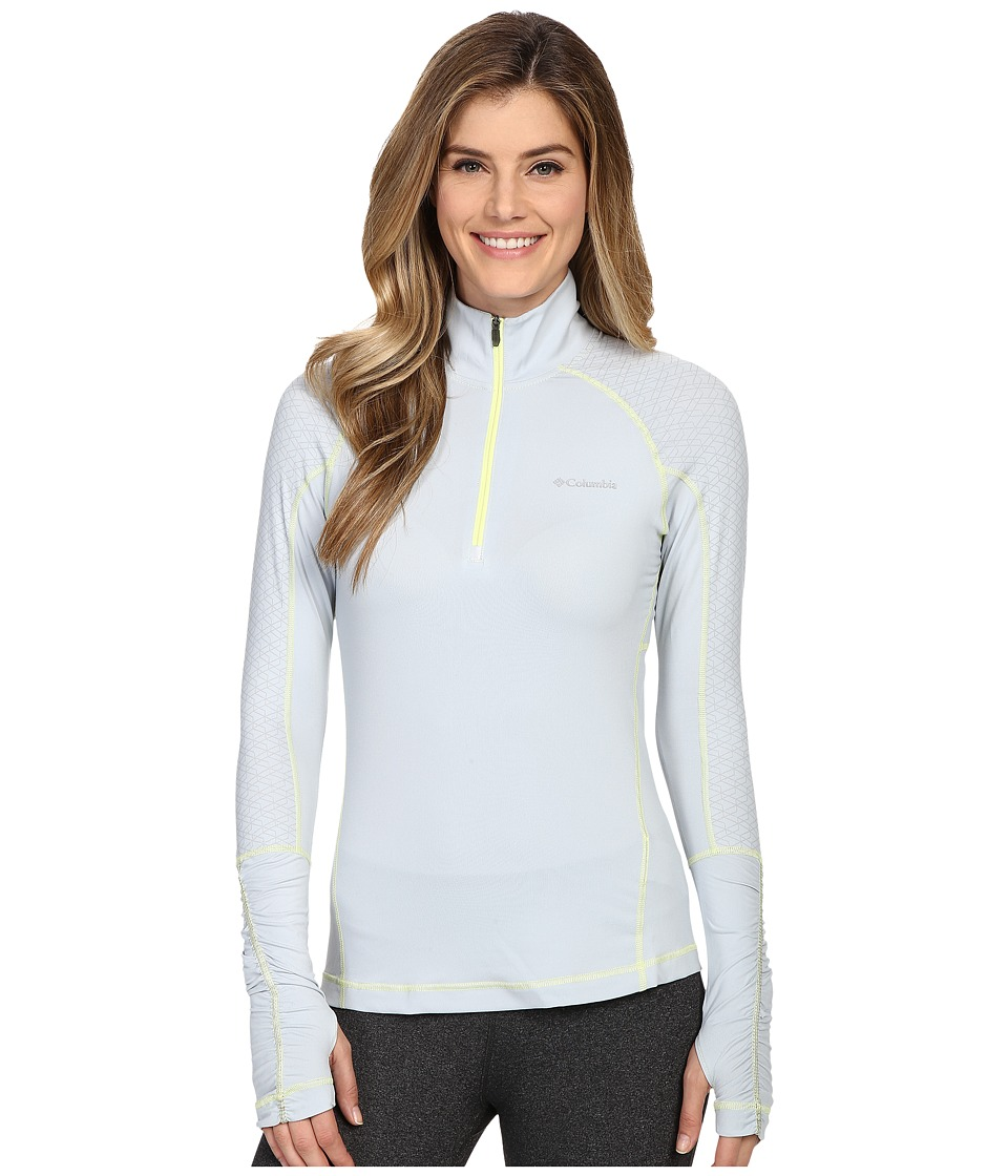 Columbia - Trail Flash 1/2 Zip Shirt (Cirrus Grey/White Zip/Neon Light Stitch) Women's Long Sleeve Pullover