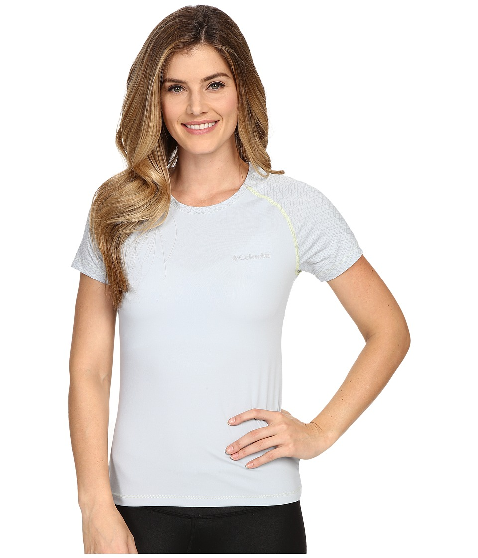 Columbia - Trail Flash Short Sleeve Shirt (Cirrus Grey/Neon Light Stitch) Women's Short Sleeve Pullover