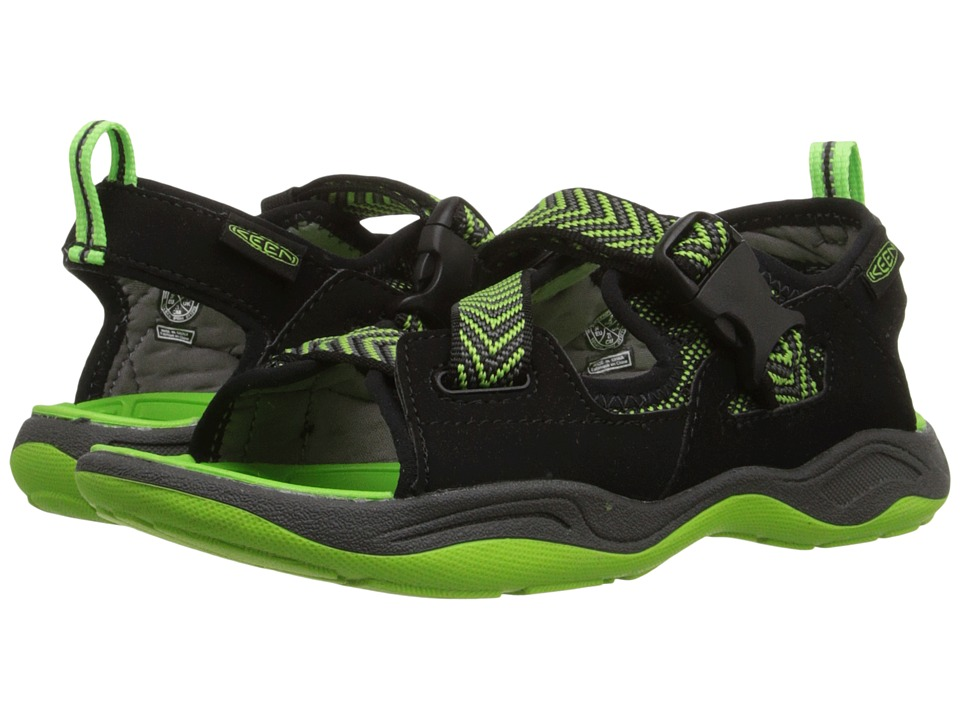 Keen Kids - Rock Iguana (Little Kid/Big Kid) (Black/Jasmine Green) Boy's Shoes