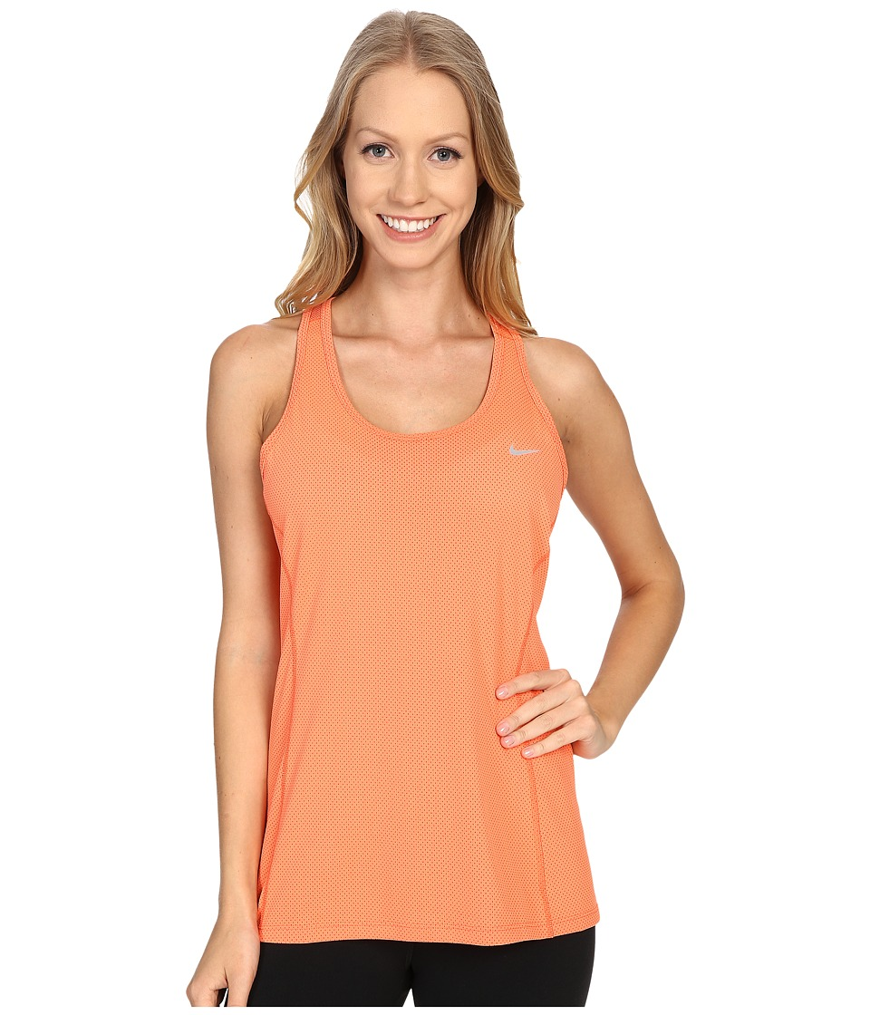 Nike - Dri-FIT Contour Tank Top (Light Wild Mango/Reflective Silver) Women's Sleeveless