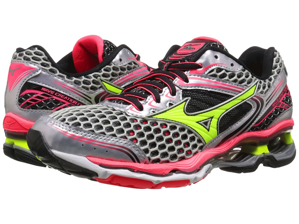 Mizuno - Wave Creation 17 (Silver/Safety Yellow/Diva Pink) Women's Running Shoes