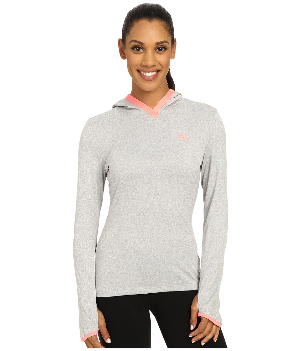 The North Face - Reactor Hoodie (TNF Light Grey Heather/Neon Peach) Women's Sweatshirt