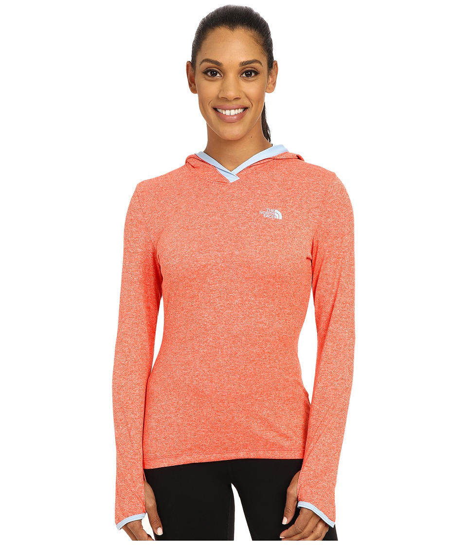 The North Face - Reactor Hoodie (Radiant Orange Heather/Powder Blue) Women's Sweatshirt