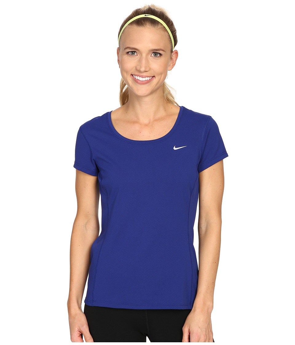 Nike - Dri-FIT Contour Short Sleeve (Deep Royal Blue/Reflective Silver) Women's Short Sleeve Pullover