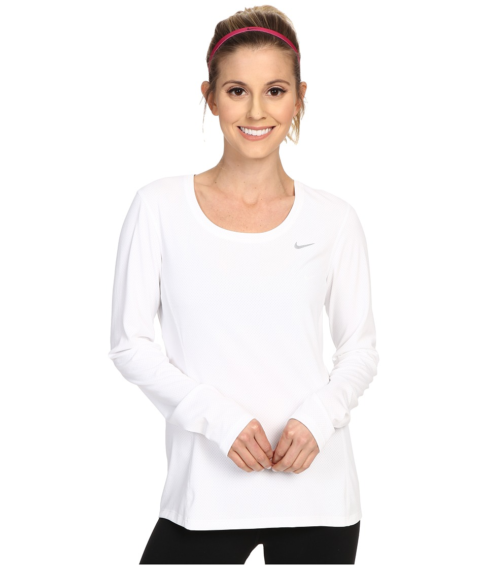 Nike - Dri-FIT Contour Long Sleeve (White/Reflective Silver) Women's Clothing