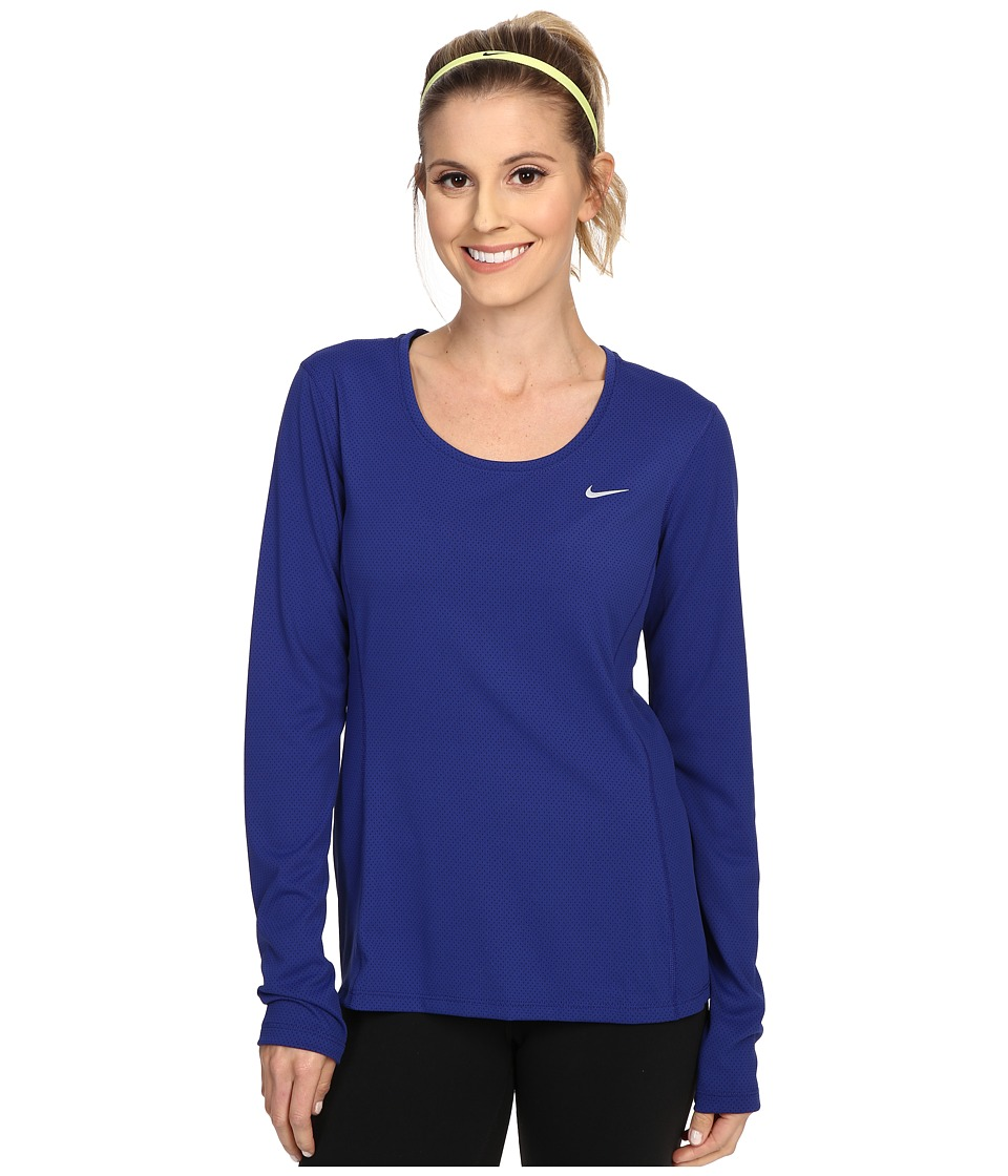 Nike - Dri-FIT Contour Long Sleeve (Deep Royal Blue/Reflective Silver) Women's Clothing